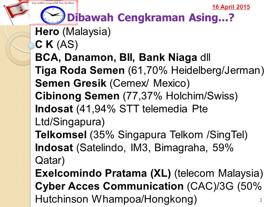 16 April 2015 14 Fakta Ekonomi ASEAN Source: ASEANStats, ASEAN Secretariat (July 2010) Union of Myanmar Pop : 59,534 mil GDP : US$ 24,972 mil GDP Per Capita: US$ 419 Thailand Pop : 66,903 mil GDP : US$ 264,322 mil GDP Per Capita: US$ 3,950 Cambodia Pop : 14,957 mil GDP : US$ 10,368 mil GDP Per Capita: US$ 693,2 Malaysia Pop : 28,3 mil GDP : US$ 193,107 mil GDP Per Capita: US$ 6,822 Singapore Pop : 4,987 mil GDP : US$ 182,701 mil GDP Per Capita: US$ 36,631 Lao PDR Pop : 5,922 mil GDP : US$ 5,579 mil GDP Per Capita: US$ 942 Indonesia Pop : 231,369 mil GDP : US$ 546,527 mil GDP Per Capita: US$ 2,362 Brunei Darussalam Pop : 406,2 mil GDP : US$ 14,146 mil GDP Per Capita: US$ 34,827 Viet Nam Pop : 86,024 mil GDP : US$ 96,317 mil GDP Per Capita: US$ 1,104 Philippines Pop : 92,226 mil GDP : US$ 161,357 mil GDP Per Capita: US$ 1,749