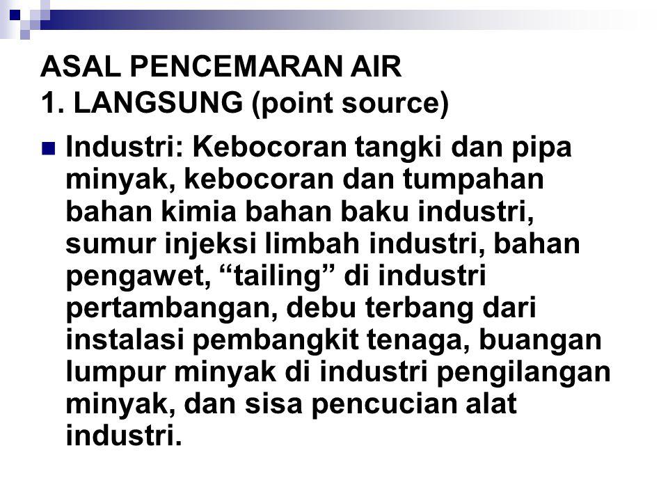 ASAL PENCEMARAN AIR 1. LANGSUNG (point source) Industri: Kebocoran tangki dan pipa minyak, kebocoran dan tumpahan bahan kimia bahan baku industri, sum