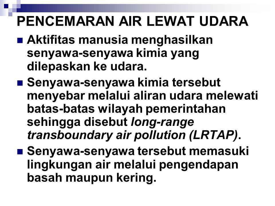 PENCEMARAN AIR LEWAT UDARA Aktifitas manusia menghasilkan senyawa-senyawa kimia yang dilepaskan ke udara. Senyawa-senyawa kimia tersebut menyebar mela
