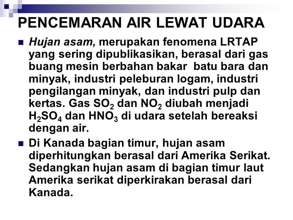 PENCEMARAN AIR LEWAT UDARA Hujan asam, merupakan fenomena LRTAP yang sering dipublikasikan, berasal dari gas buang mesin berbahan bakar batu bara dan