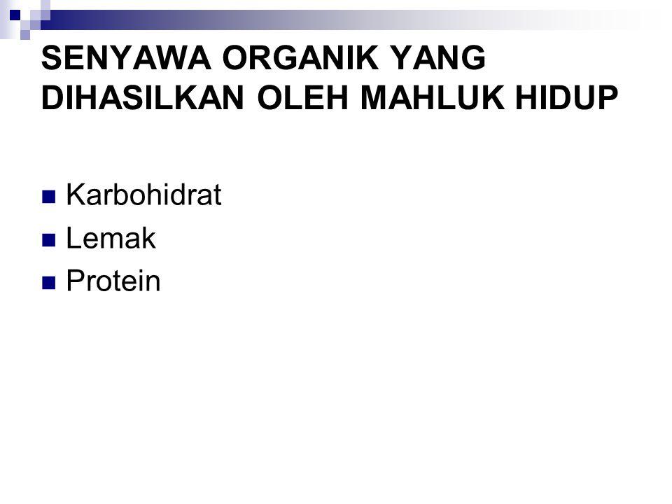 SENYAWA ORGANIK YANG DIHASILKAN OLEH MAHLUK HIDUP Karbohidrat Lemak Protein