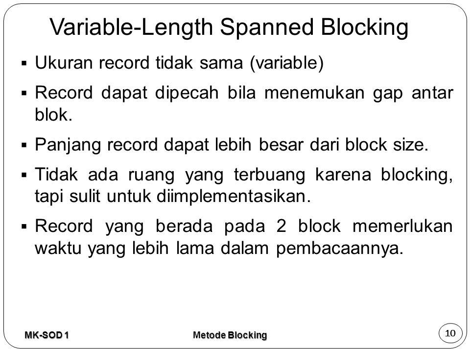 Variable-Length Spanned Blocking  Ukuran record tidak sama (variable)  Record dapat dipecah bila menemukan gap antar blok.  Panjang record dapat le