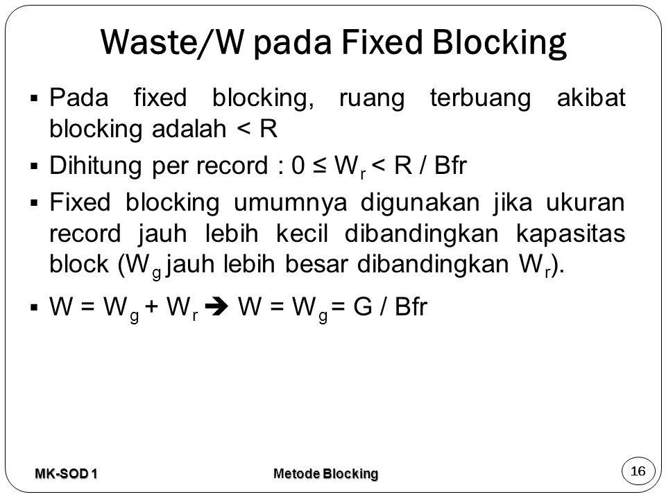 Waste/W pada Fixed Blocking  Pada fixed blocking, ruang terbuang akibat blocking adalah < R  Dihitung per record : 0 ≤ W r < R / Bfr  Fixed blockin