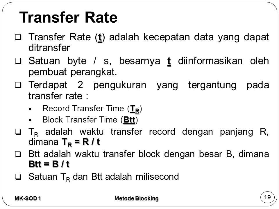Transfer Rate t  Transfer Rate (t) adalah kecepatan data yang dapat ditransfer t  Satuan byte / s, besarnya t diinformasikan oleh pembuat perangkat.
