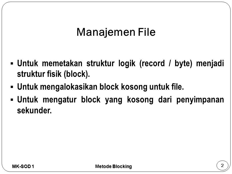 Manajemen File  Untuk memetakan struktur logik (record / byte) menjadi struktur fisik (block).  Untuk mengalokasikan block kosong untuk file.  Untu