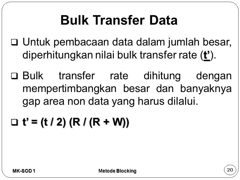 Bulk Transfer Data t'  Untuk pembacaan data dalam jumlah besar, diperhitungkan nilai bulk transfer rate (t').  Bulk transfer rate dihitung dengan me
