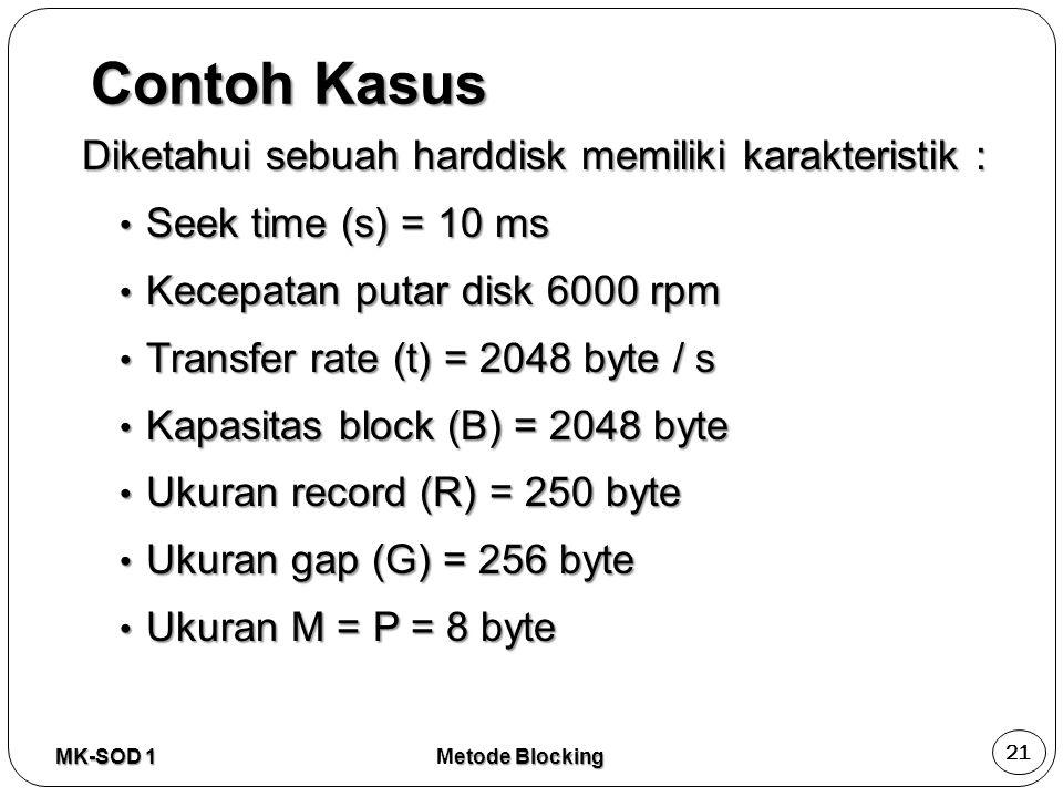 Contoh Kasus Diketahui sebuah harddisk memiliki karakteristik : Seek time (s) = 10 ms Seek time (s) = 10 ms Kecepatan putar disk 6000 rpm Kecepatan pu