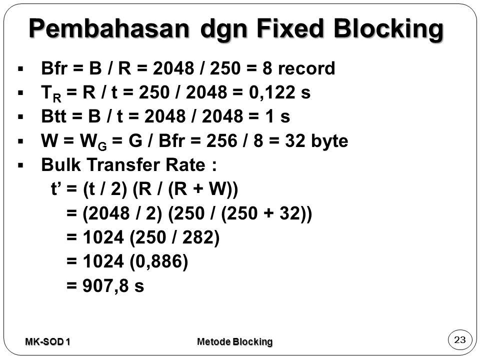  Bfr = B / R = 2048 / 250 = 8 record  T R = R / t = 250 / 2048 = 0,122 s  Btt = B / t = 2048 / 2048 = 1 s  W = W G = G / Bfr = 256 / 8 = 32 byte 