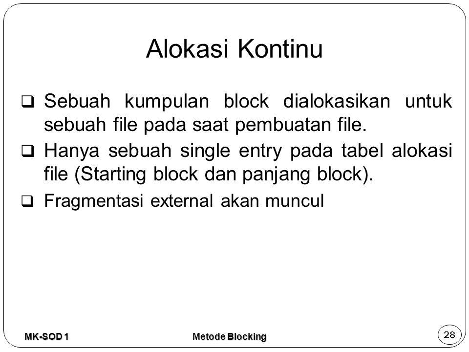  Sebuah kumpulan block dialokasikan untuk sebuah file pada saat pembuatan file.  Hanya sebuah single entry pada tabel alokasi file (Starting block d