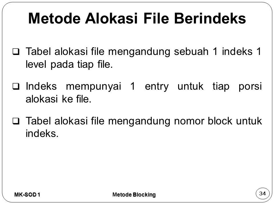  Tabel alokasi file mengandung sebuah 1 indeks 1 level pada tiap file.  Indeks mempunyai 1 entry untuk tiap porsi alokasi ke file.  Tabel alokasi f