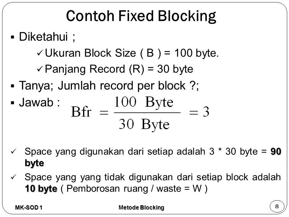 Gab due to hardware design R1R2R3 Block 1 R4R5R6 Block 2 R7R8R9 Block 5 R10R11R12 Block 4 Waste due to record fit to bloc size/ space terjadi pemilihan ukuran record yang terbaik/ Waste due to block size constraint from fixed record size Waste due to block fit to track size Tampilan hasil Fixed Blocking MK-SOD 1 9 etode Blocking Metode Blocking