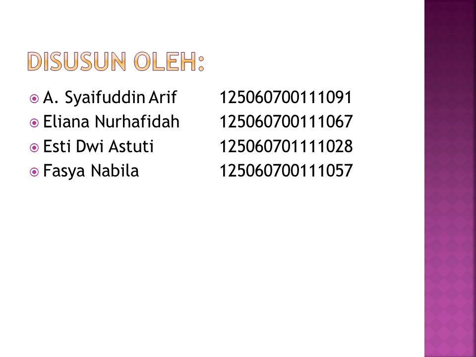  A. Syaifuddin Arif125060700111091  Eliana Nurhafidah125060700111067  Esti Dwi Astuti125060701111028  Fasya Nabila125060700111057