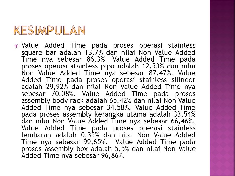  Value Added Time pada proses operasi stainless square bar adalah 13,7% dan nilai Non Value Added Time nya sebesar 86,3%. Value Added Time pada prose