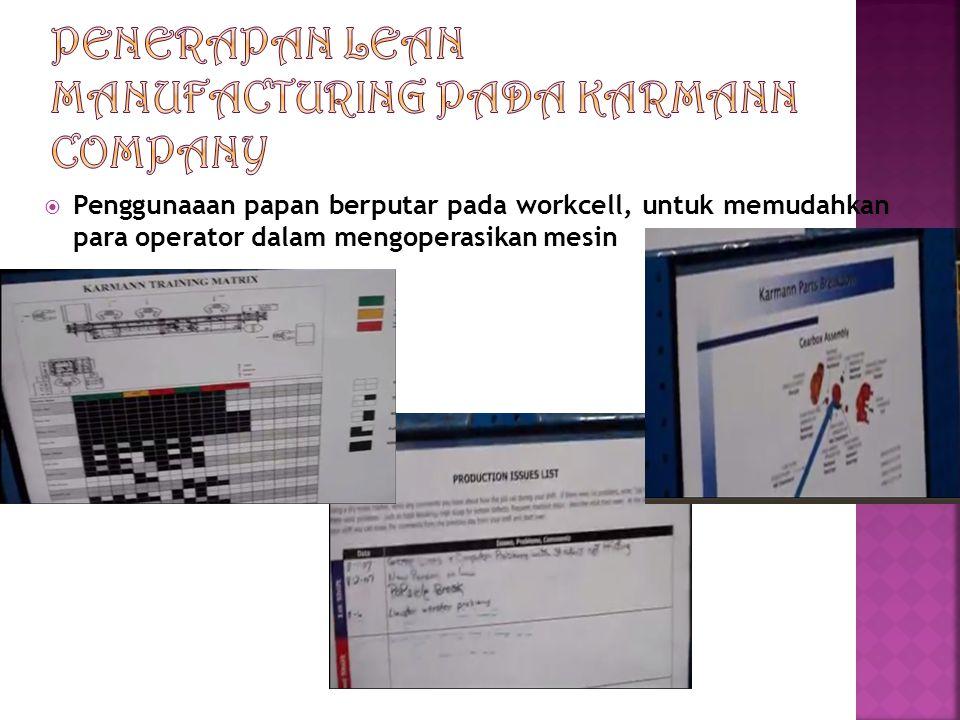 Penggunaaan papan berputar pada workcell, untuk memudahkan para operator dalam mengoperasikan mesin