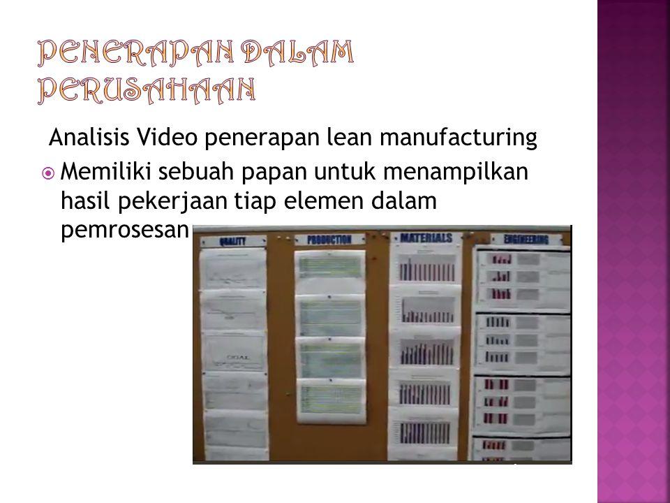 Analisis Video penerapan lean manufacturing  Memiliki sebuah papan untuk menampilkan hasil pekerjaan tiap elemen dalam pemrosesan
