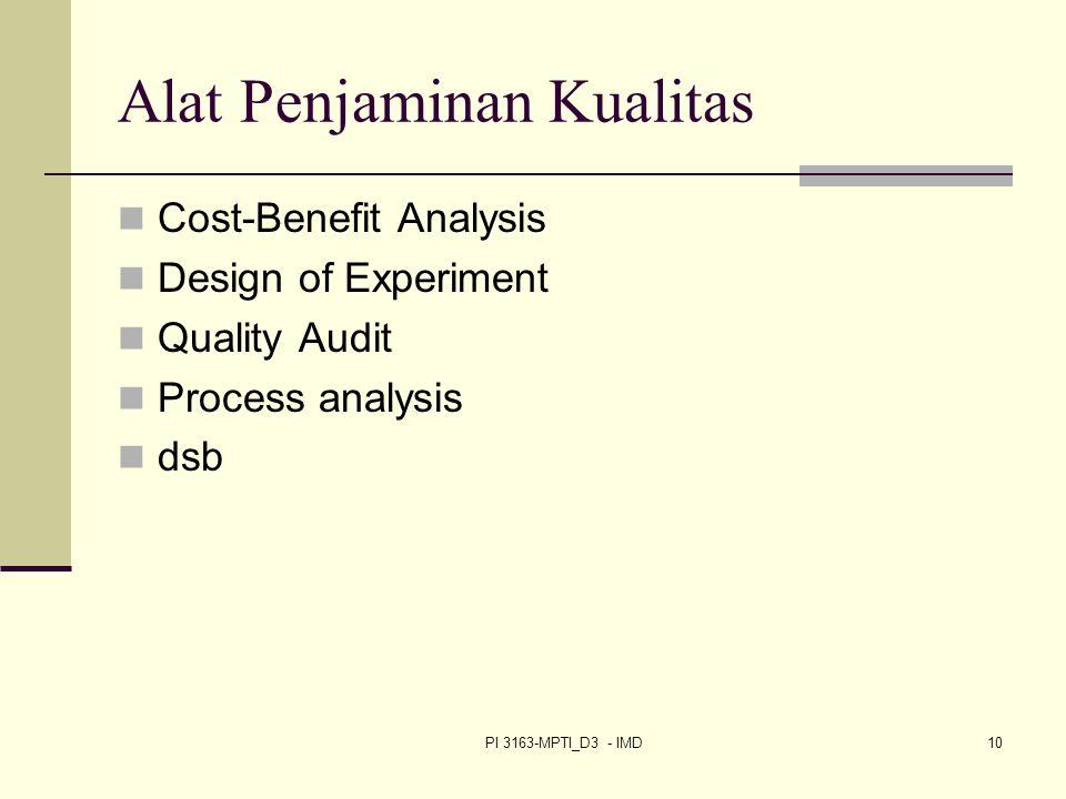 PI 3163-MPTI_D3 - IMD10 Alat Penjaminan Kualitas Cost-Benefit Analysis Design of Experiment Quality Audit Process analysis dsb