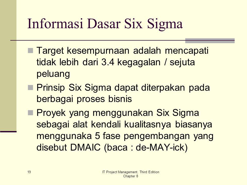 19 IT Project Management, Third Edition Chapter 8 Informasi Dasar Six Sigma Target kesempurnaan adalah mencapati tidak lebih dari 3.4 kegagalan / seju