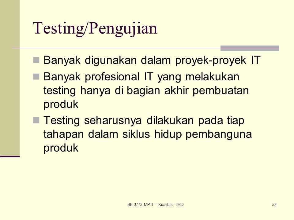 Testing/Pengujian Banyak digunakan dalam proyek-proyek IT Banyak profesional IT yang melakukan testing hanya di bagian akhir pembuatan produk Testing