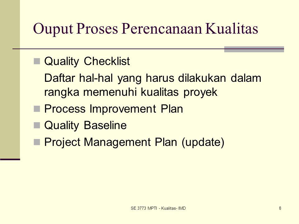 SE 3773 MPTI - Kualitas- IMD8 Ouput Proses Perencanaan Kualitas Quality Checklist Daftar hal-hal yang harus dilakukan dalam rangka memenuhi kualitas p