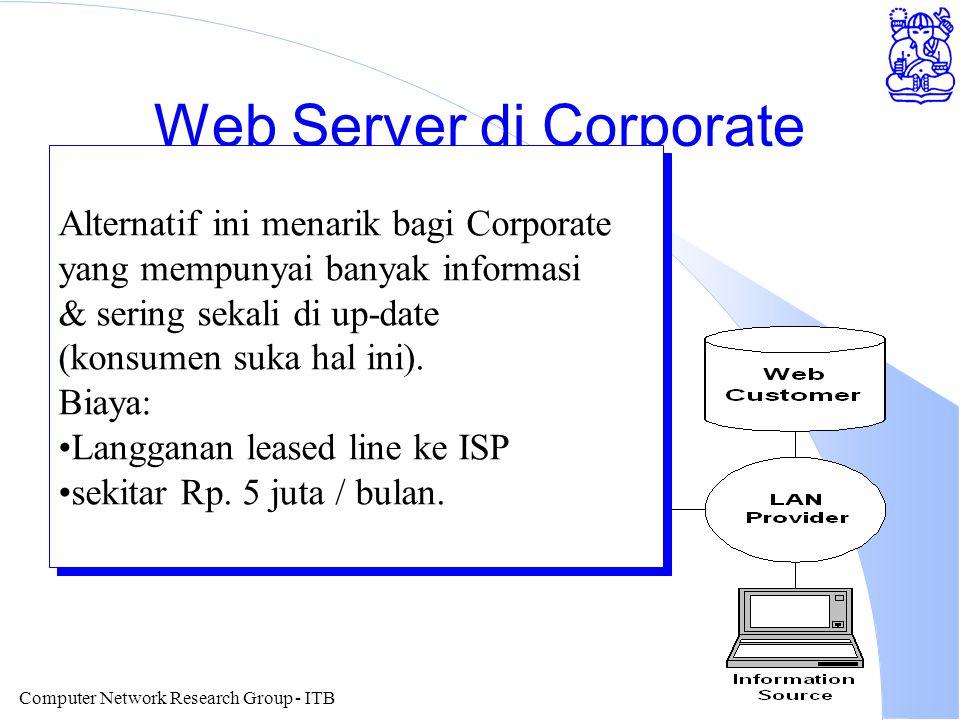 Computer Network Research Group - ITB Web Server di Corporate Alternatif ini menarik bagi Corporate yang mempunyai banyak informasi & sering sekali di