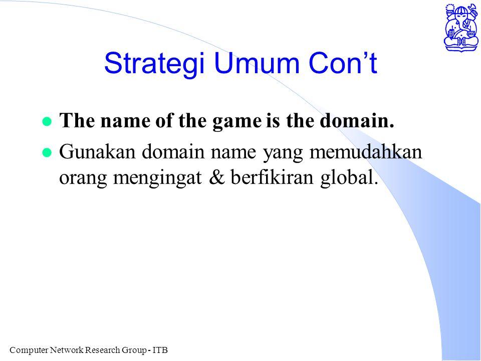 Computer Network Research Group - ITB Strategi Umum Con't l The name of the game is the domain. l Gunakan domain name yang memudahkan orang mengingat