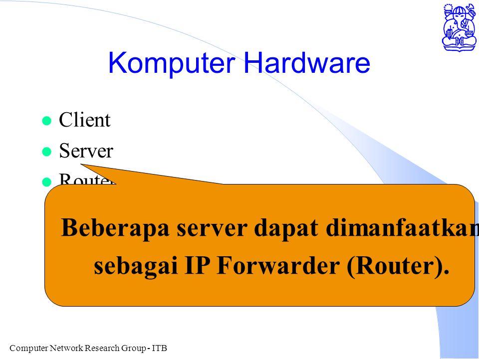 Computer Network Research Group - ITB Komputer Hardware l Client l Server l Router Beberapa server dapat dimanfaatkan sebagai IP Forwarder (Router).