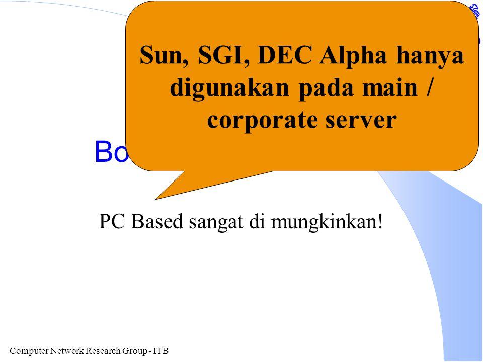 Computer Network Research Group - ITB Bottom Line Hardware PC Based sangat di mungkinkan! Sun, SGI, DEC Alpha hanya digunakan pada main / corporate se