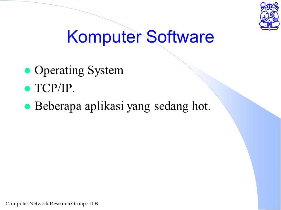 Computer Network Research Group - ITB Komputer Software l Operating System l TCP/IP. l Beberapa aplikasi yang sedang hot.