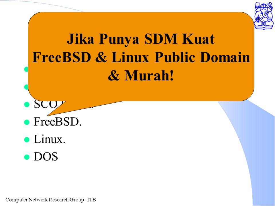 Computer Network Research Group - ITB Operating System Server l Novell. l Windows NT. l SCO UNIX. l FreeBSD. l Linux. l DOS Jika Punya SDM Kuat FreeBS