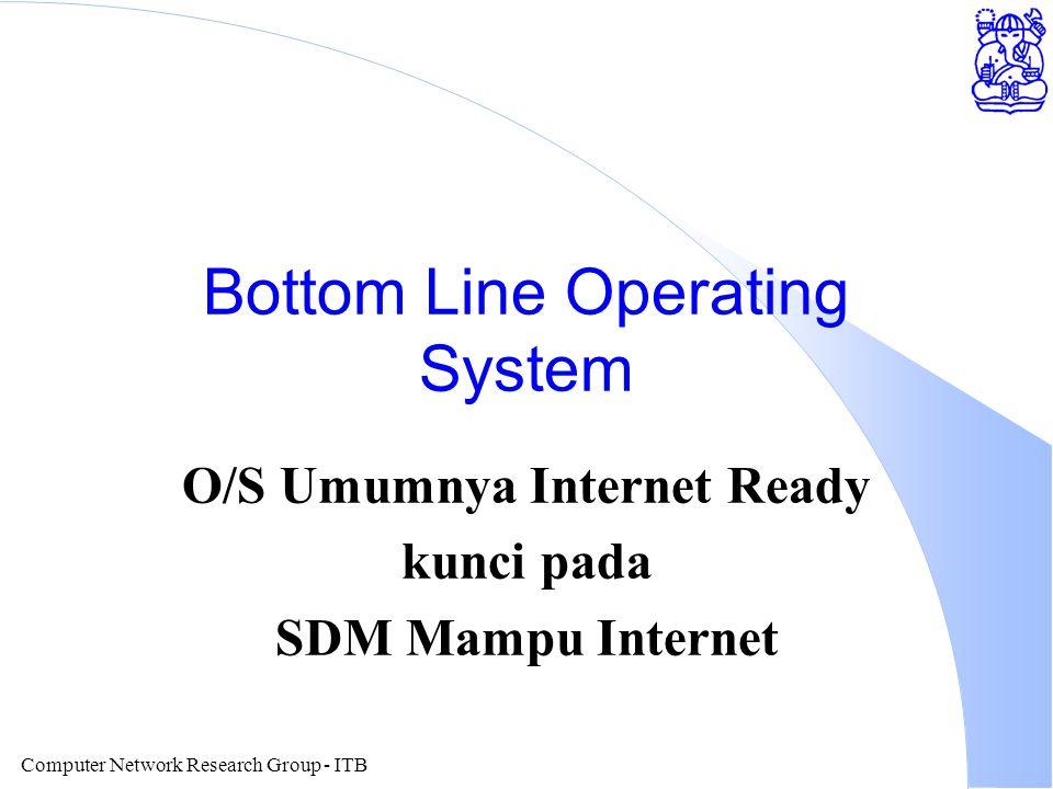Computer Network Research Group - ITB Bottom Line Operating System O/S Umumnya Internet Ready kunci pada SDM Mampu Internet