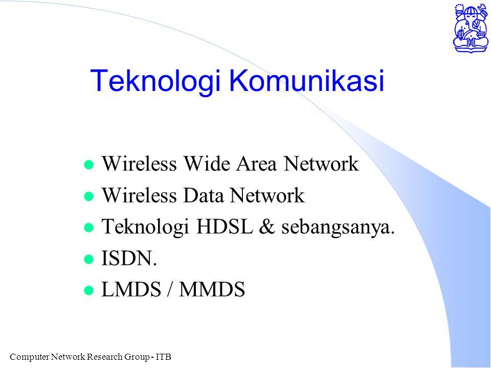 Computer Network Research Group - ITB Teknologi Komunikasi l Wireless Wide Area Network l Wireless Data Network l Teknologi HDSL & sebangsanya. l ISDN