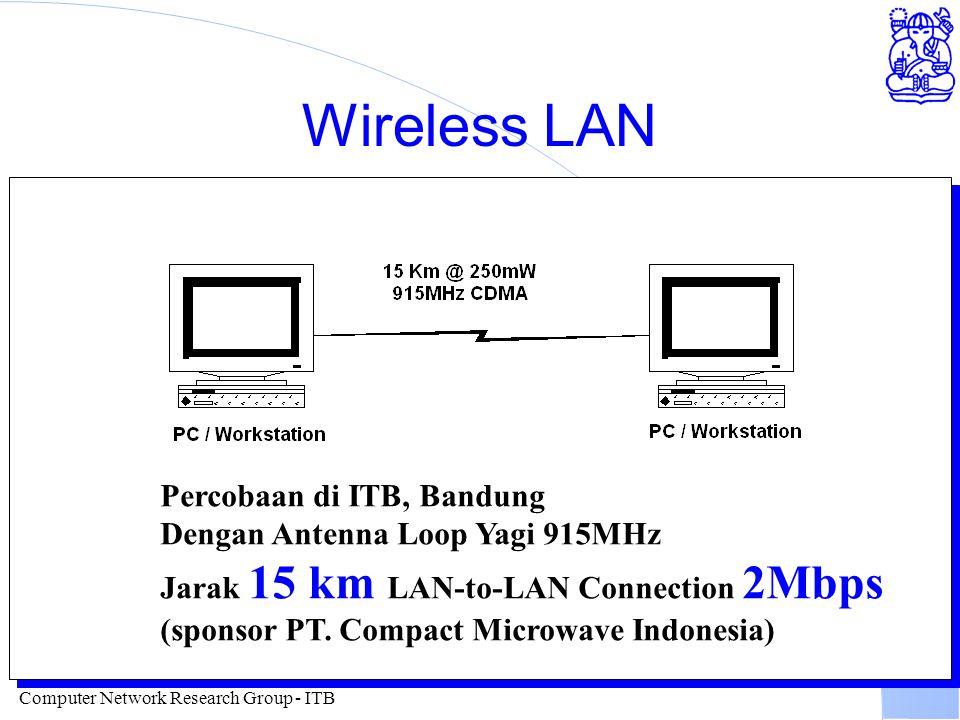 Computer Network Research Group - ITB Wireless LAN Percobaan di ITB, Bandung Dengan Antenna Loop Yagi 915MHz Jarak 15 km LAN-to-LAN Connection 2Mbps (