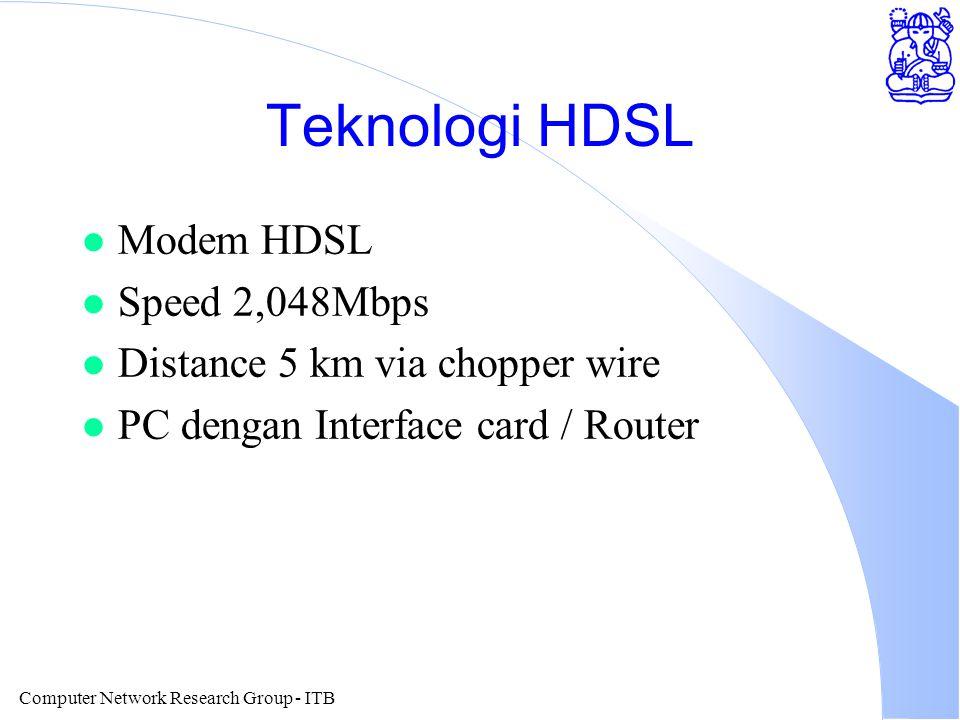 Computer Network Research Group - ITB Teknologi HDSL l Modem HDSL l Speed 2,048Mbps l Distance 5 km via chopper wire l PC dengan Interface card / Rout