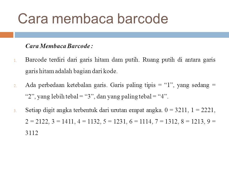 Cara membaca barcode Cara Membaca Barcode : 1. Barcode terdiri dari garis hitam dam putih. Ruang putih di antara garis garis hitam adalah bagian dari