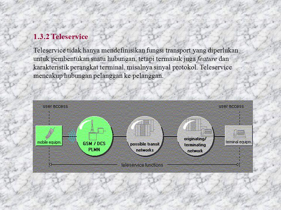 1.3.2 Teleservice Teleservice tidak hanya mendefinisikan fungsi transport yang diperlukan untuk pembentukan suatu hubungan, tetapi termasuk juga feature dan karakteristik perangkat terminal, misalnya sinyal protokol.