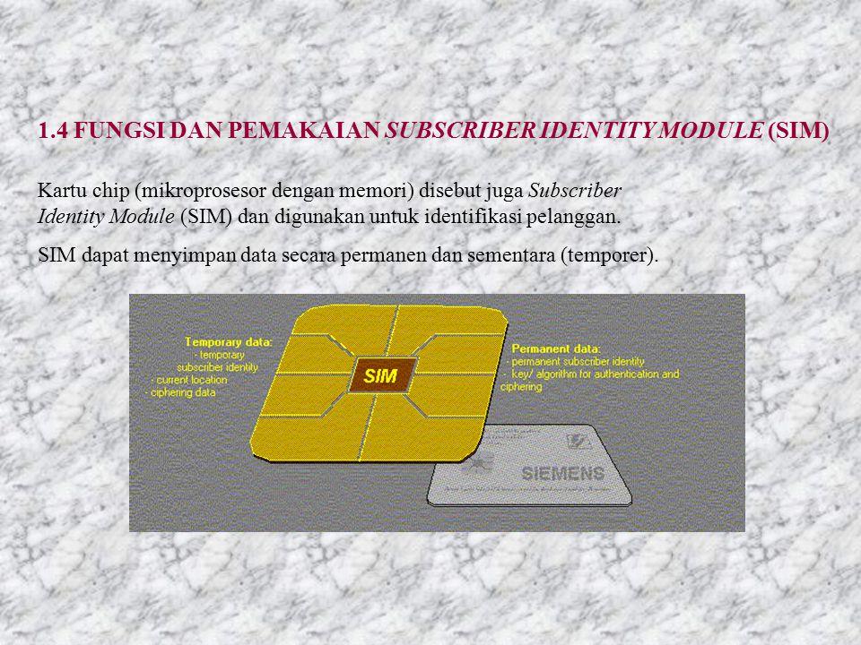1.4 FUNGSI DAN PEMAKAIAN SUBSCRIBER IDENTITY MODULE (SIM) Kartu chip (mikroprosesor dengan memori) disebut juga Subscriber Identity Module (SIM) dan digunakan untuk identifikasi pelanggan.