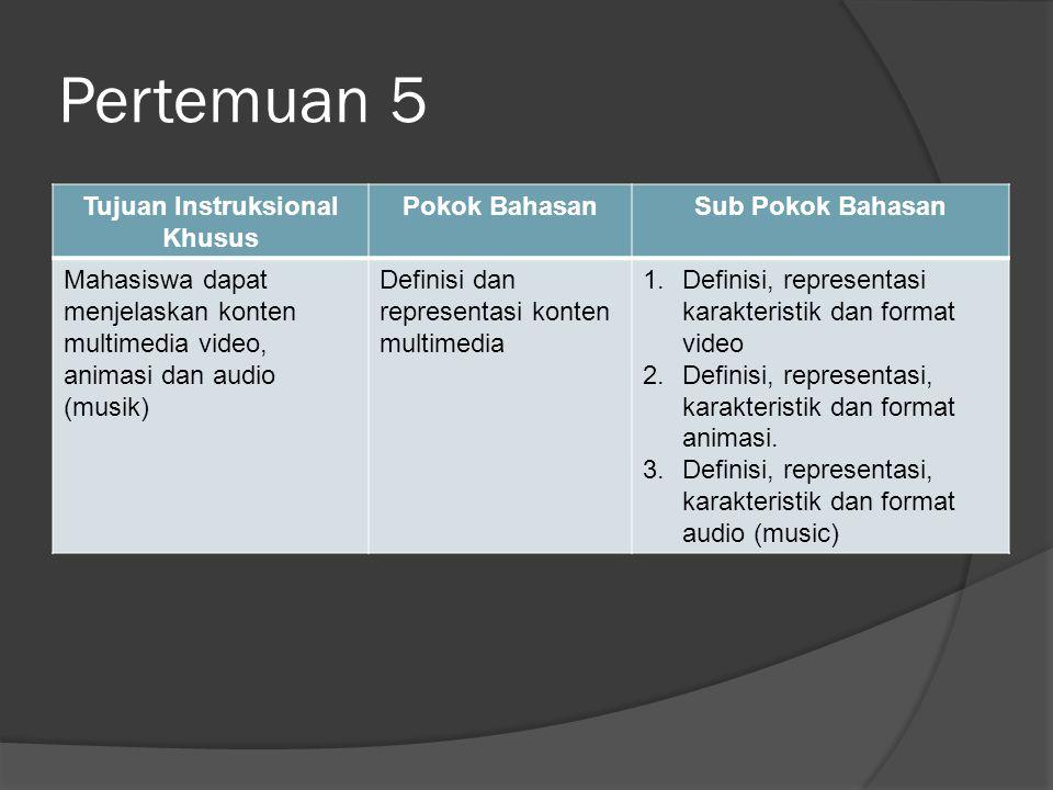 Pertemuan 5 Tujuan Instruksional Khusus Pokok BahasanSub Pokok Bahasan Mahasiswa dapat menjelaskan konten multimedia video, animasi dan audio (musik) Definisi dan representasi konten multimedia 1.Definisi, representasi karakteristik dan format video 2.Definisi, representasi, karakteristik dan format animasi.