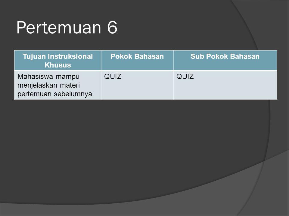 Pertemuan 6 Tujuan Instruksional Khusus Pokok BahasanSub Pokok Bahasan Mahasiswa mampu menjelaskan materi pertemuan sebelumnya QUIZ