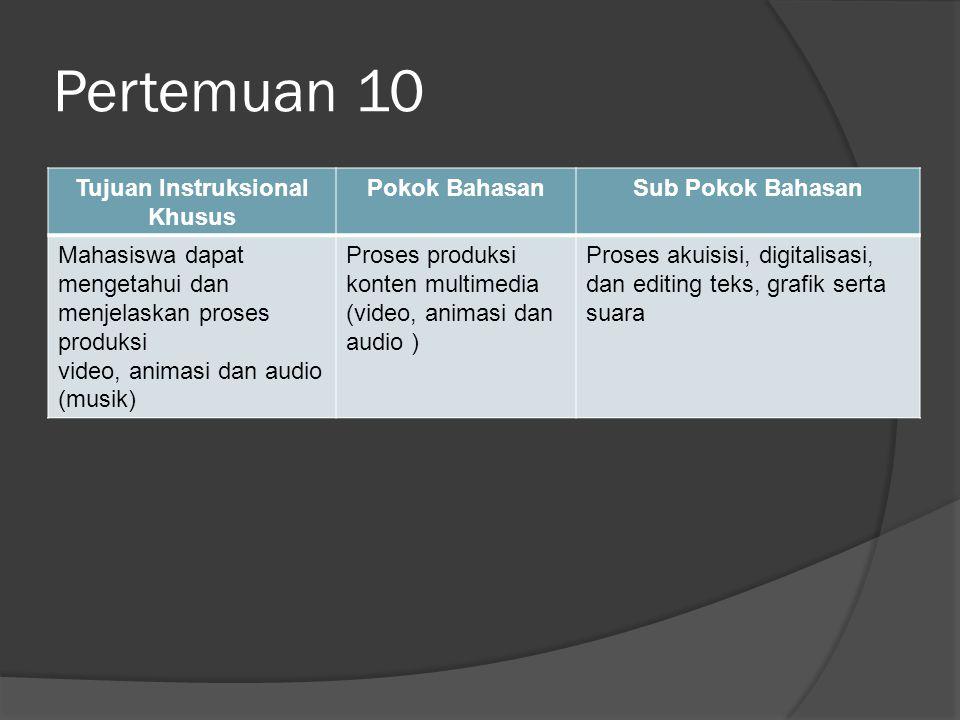 Pertemuan 10 Tujuan Instruksional Khusus Pokok BahasanSub Pokok Bahasan Mahasiswa dapat mengetahui dan menjelaskan proses produksi video, animasi dan audio (musik) Proses produksi konten multimedia (video, animasi dan audio ) Proses akuisisi, digitalisasi, dan editing teks, grafik serta suara