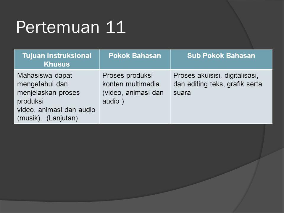 Pertemuan 11 Tujuan Instruksional Khusus Pokok BahasanSub Pokok Bahasan Mahasiswa dapat mengetahui dan menjelaskan proses produksi video, animasi dan audio (musik).