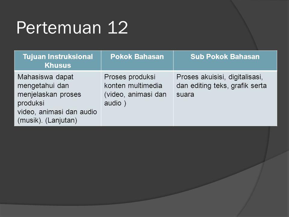 Pertemuan 12 Tujuan Instruksional Khusus Pokok BahasanSub Pokok Bahasan Mahasiswa dapat mengetahui dan menjelaskan proses produksi video, animasi dan audio (musik).
