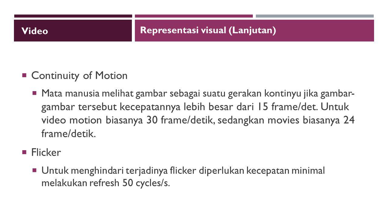 Video  Continuity of Motion  Mata manusia melihat gambar sebagai suatu gerakan kontinyu jika gambar- gambar tersebut kecepatannya lebih besar dari 15 frame/det.