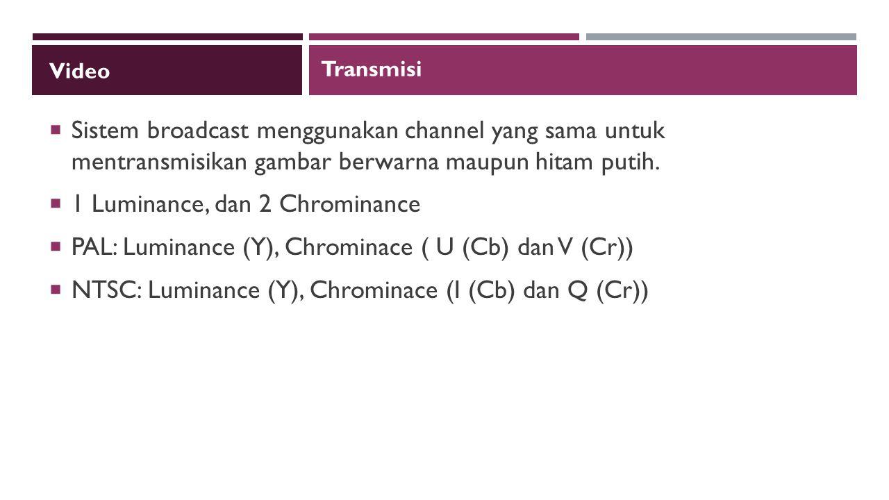 Video  Sistem broadcast menggunakan channel yang sama untuk mentransmisikan gambar berwarna maupun hitam putih.
