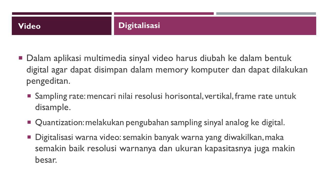 Video  Dalam aplikasi multimedia sinyal video harus diubah ke dalam bentuk digital agar dapat disimpan dalam memory komputer dan dapat dilakukan pengeditan.