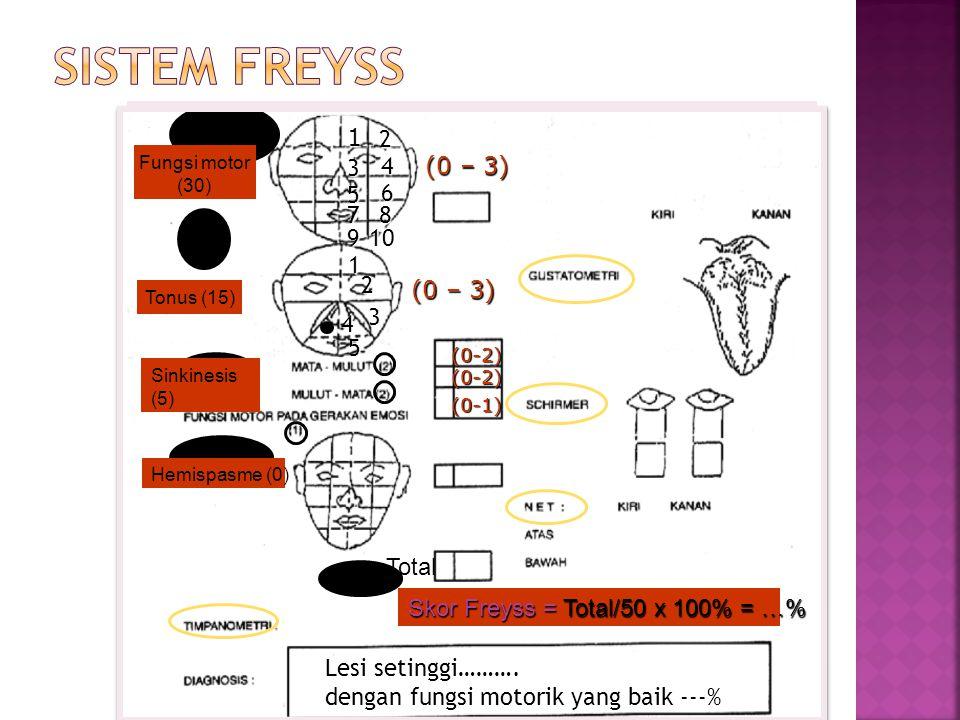(0 – 3) (0-2) (0-2) (0-1) Lesi setinggi………. dengan fungsi motorik yang baik ---% Skor Freyss = Total/50 x 100% = …% 1 2 3 4 5 6 87 910 1 2 3 4 5 Fungs