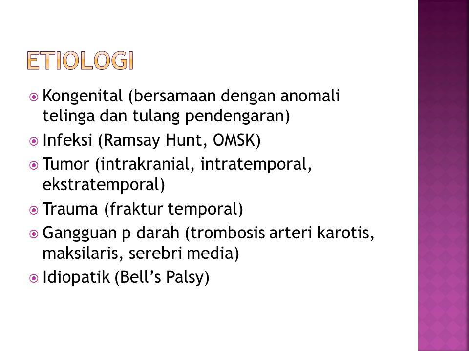  Kongenital (bersamaan dengan anomali telinga dan tulang pendengaran)  Infeksi (Ramsay Hunt, OMSK)  Tumor (intrakranial, intratemporal, ekstratemporal)  Trauma (fraktur temporal)  Gangguan p darah (trombosis arteri karotis, maksilaris, serebri media)  Idiopatik (Bell's Palsy)
