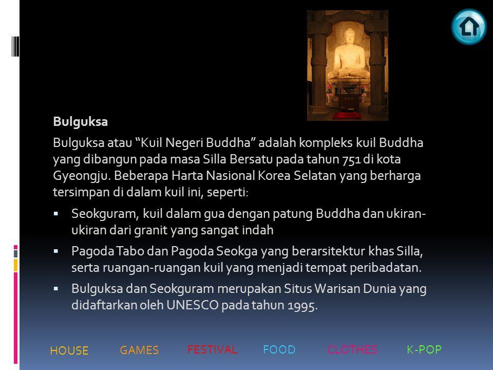 """Bulguksa Bulguksa atau """"Kuil Negeri Buddha"""" adalah kompleks kuil Buddha yang dibangun pada masa Silla Bersatu pada tahun 751 di kota Gyeongju. Beberap"""
