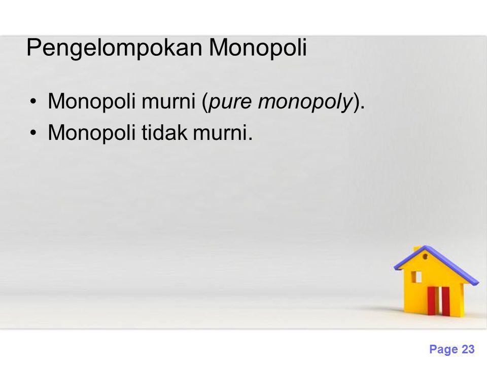 Page 23 Pengelompokan Monopoli Monopoli murni (pure monopoly). Monopoli tidak murni.