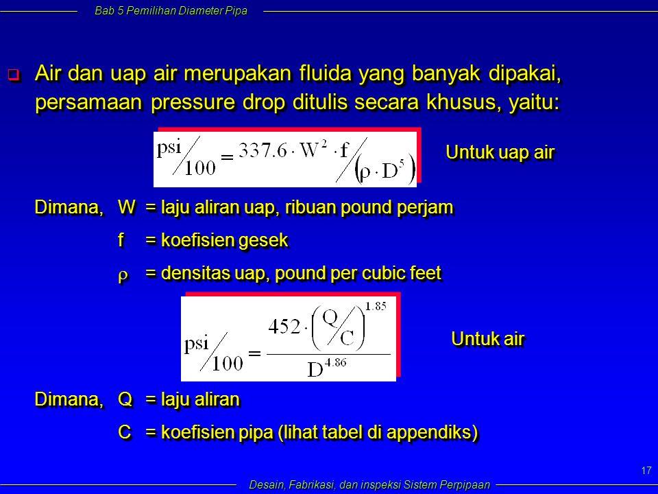 Bab 5 Pemilihan Diameter Pipa Desain, Fabrikasi, dan inspeksi Sistem Perpipaan 17  Air dan uap air merupakan fluida yang banyak dipakai, persamaan pressure drop ditulis secara khusus, yaitu: Untuk uap air Dimana,W= laju aliran uap, ribuan pound perjam f= koefisien gesek  = densitas uap, pound per cubic feet Dimana,W= laju aliran uap, ribuan pound perjam f= koefisien gesek  = densitas uap, pound per cubic feet Dimana,Q= laju aliran C= koefisien pipa (lihat tabel di appendiks) Dimana,Q= laju aliran C= koefisien pipa (lihat tabel di appendiks) Untuk air