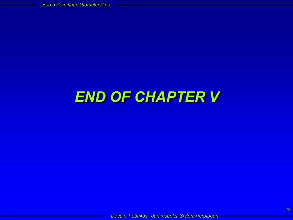 Bab 5 Pemilihan Diameter Pipa Desain, Fabrikasi, dan inspeksi Sistem Perpipaan 28 END OF CHAPTER V
